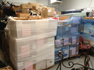 These medical supplies are to be loaded into the container and shipped to Liberia.